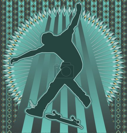 Vintage background design with skateboarder silhouette. Vector i