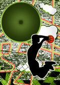 Vintage urban grunge background design with basketball player si