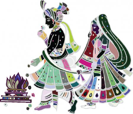 Photo for Traditional indian wedding. Illustration art - Royalty Free Image