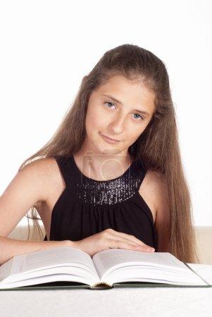 School girl studying