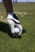 Golfista nastavení míč na odpališti