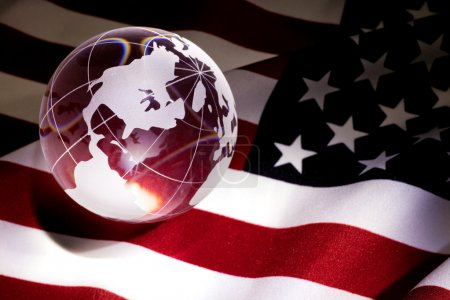 Globe and USA Flag