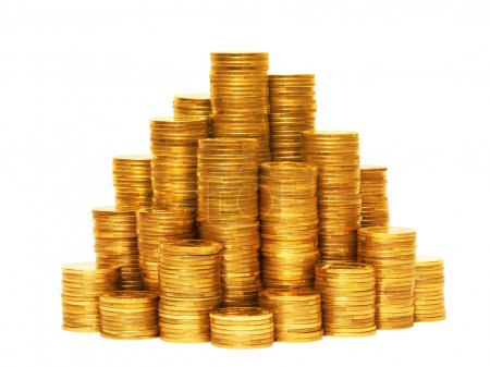 Piles of coins isolated on the white background....