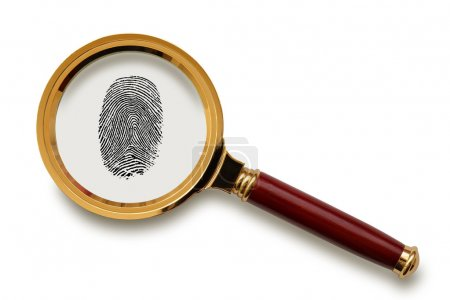 Magnifying glass with fingerprint.
