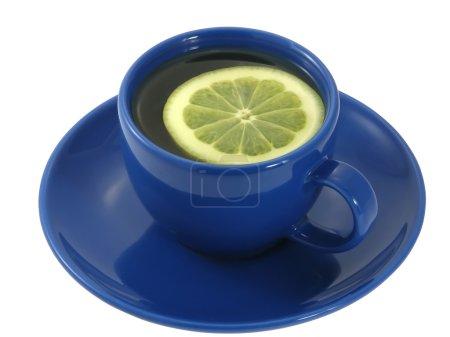 Foto de Taza de té azul con una rodaja de limón aislado sobre el fondo blanco. - Imagen libre de derechos