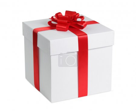 Photo for Gift box with ribbon end bow isolated on the white background, clipping path included. - Royalty Free Image