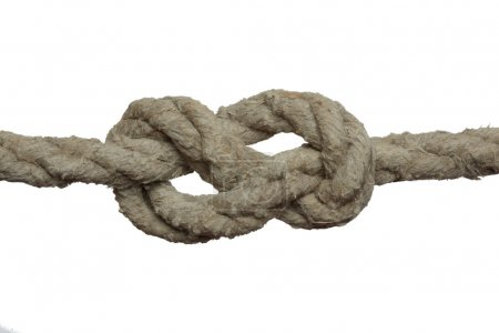 Photo for Knot on the old rope isolated on the white background. - Royalty Free Image