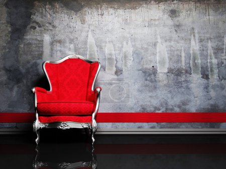 Photo pour C'est un intérieur moderne avec un fauteuil classique rouge sur le fond sale - image libre de droit