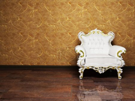 Photo pour Design d'intérieur avec un fauteuil élégant classique sur le fond riche - image libre de droit