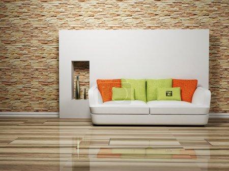 Photo pour Design intérieur moderne du salon avec un canapé, rendant - image libre de droit