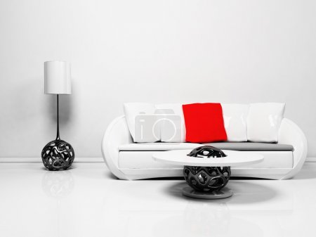 Photo for Modern interior design of living room with a sofa, a table and a floor lamp, minimalism, 3d rendering - Royalty Free Image