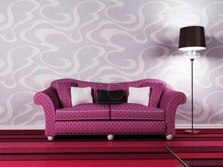 Photo pour Design intérieur moderne du salon avec un canapé et le lampadaire - image libre de droit
