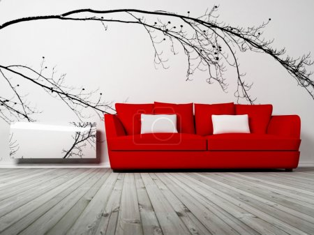 Photo for Modern interior design of living room with a red sofa and the radiator - Royalty Free Image