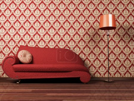 Interior design scene with a red sofa