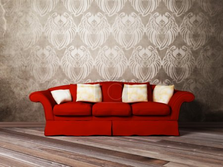Modern interior design of living room with a red sofa