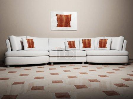 Photo pour Design intérieur moderne de salle de séjour avec un canapé sur le fond intéressant - image libre de droit