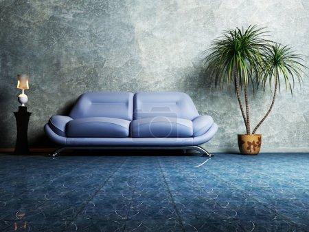 Photo pour Design intérieur moderne de salle de séjour avec un canapé bleu, une usine et une lampe - image libre de droit