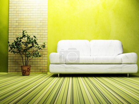 Photo for Modern interior design of living room with a bright sofa and a plant - Royalty Free Image