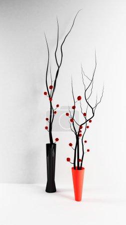 Photo pour Deux vases en verre modernes avec les branches - image libre de droit