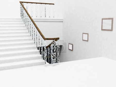 Interior design with the stairs and a pictures