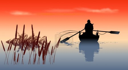 Illustration for Man in the hat goes fishing - Royalty Free Image