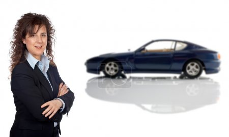 Smiling business woman and car