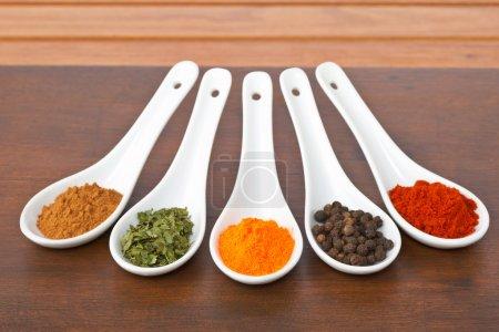 Photo pour Assortiment d'épices dans les cuillères pour préparer des plats savoureux avec une ombre douce dans le fond en bois. faible profondeur de champ - image libre de droit