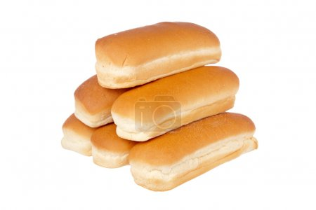 A pile of buns for hot dog isolated on white backg...