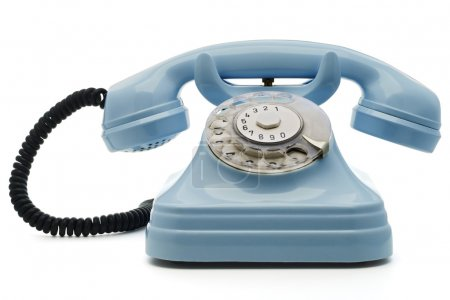 Photo for A light blue telephone on white - with clipping path both for telephone and the dial - Royalty Free Image