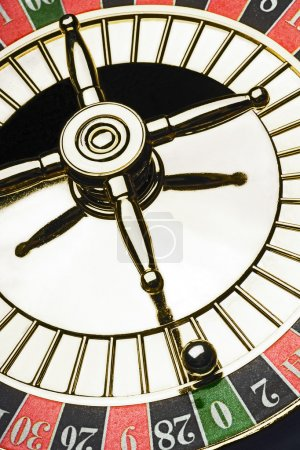 Roulette wheel with a ball
