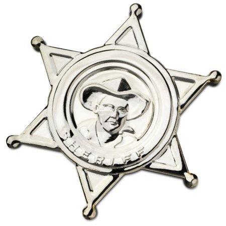 Photo pour Broche du shérif métal brillant blanc - clipping path inclus - image libre de droit