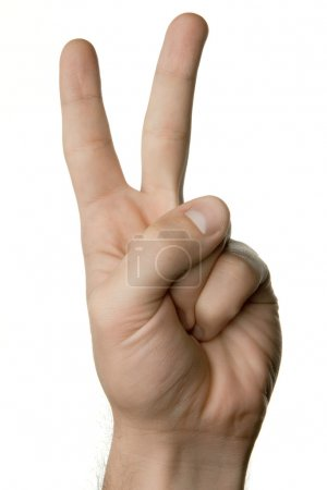 Hand showing victory sign