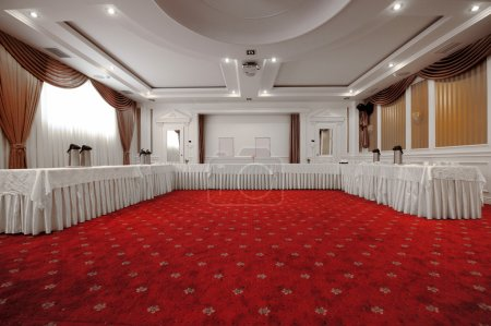 Photo for This photograph represents elegantly designed banquet hall. Great file for your new catering, hotel and other beusiness service. - Royalty Free Image