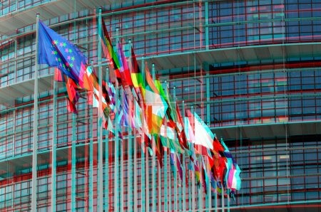 EuroParliament flags in Strasbourg