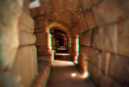 3D anaglyph of empty tunnel