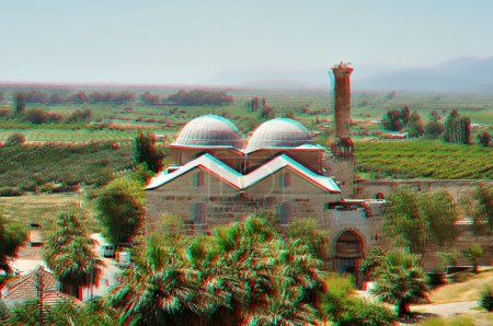 3D anaglyph stereo image of Isa Bey Mosque, Turkey