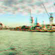 3D anaglyph effect photograph of Istanbul busy por...