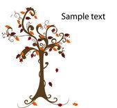 Abstraktní strom s podzimní listy vektorové ilustrace