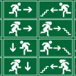 Green emergency exit sign, icon and symbol set...