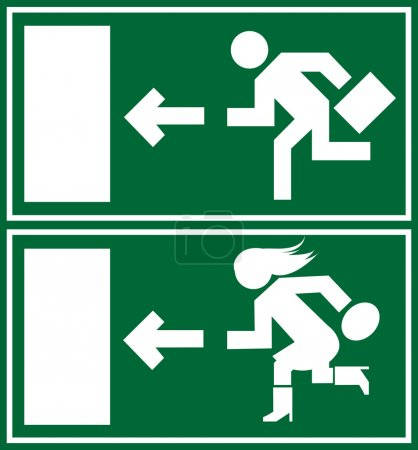 Green emergency exit sign, icon and symbol