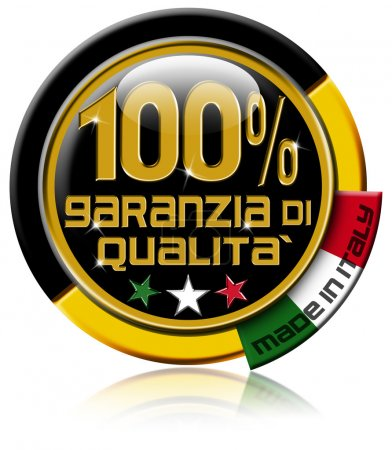 "Photo pour Black and gold Icon, marked ""100% garanzia di qualità made in Italy"" and italian flag - image libre de droit"