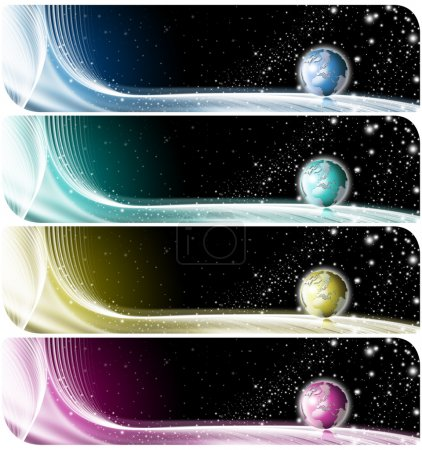Photo for Four technologic banners or backgrounds with astral space, globe and stars - Royalty Free Image