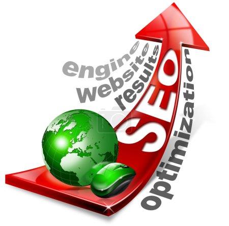 Photo pour Écrit seo avec flèche rouge et globe, souris et écrit : résultats, site Web, optimisation, moteur - image libre de droit