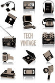 Two-tone silhouettes of vintage technological objects part of a collection of fashion and lifestyle objects
