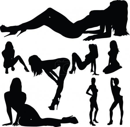 Photo pour Sexy girl silhouettes de corps - image libre de droit