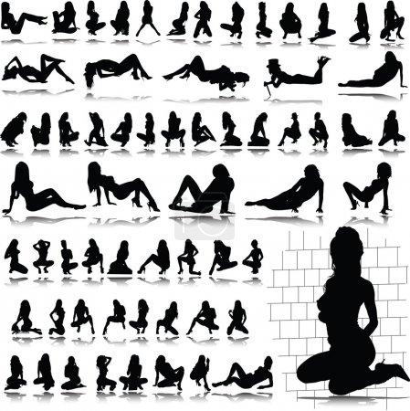 Photo pour Hot silhouettes sexy fille - image libre de droit