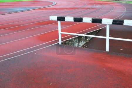 Hurdle on running track