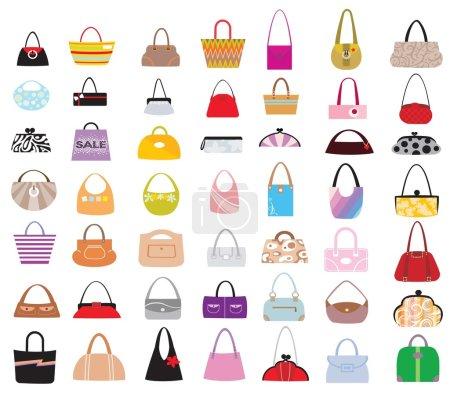 Illustration pour Beaucoup de sacs féminins de différents modèles et styles - image libre de droit