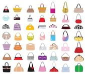 Lots of female bags of different designs and styles