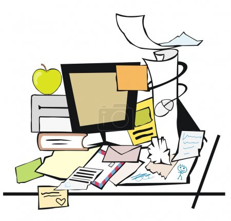 Illustration for A messy desk with office stuff lying around - Royalty Free Image